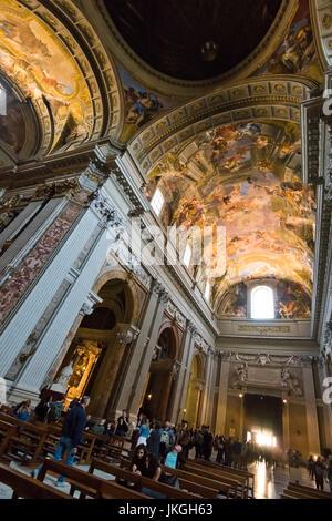 Vertical view inside Sant'Ignazio Church in Rome. - Stock Photo