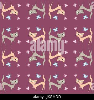 Seamless Pattern Of Two Different Colored Cats Go In Directions Vector