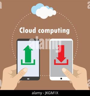 Hand holding smartphone, cloud computing , vector illustration