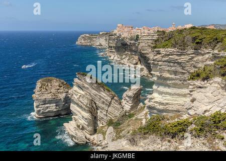 Ville Haute, Bonifacio, Corsica, France - Stock Photo