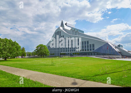 The building of the National Library of Latvia in Riga on a summer sunny day - Stock Photo
