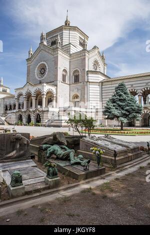 Monumental Cemetery by Architect Carlo Maciachini, Milan, Lombardy, Italy, Europe - Stock Photo