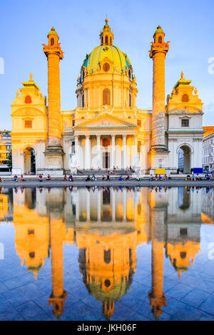 Vienna, Austria. St. Charles's Church (Karlskirche) at sunset. - Stock Photo