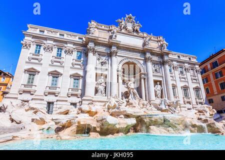 Rome, Italy. Trevi Fountain (Fontana di Trevi) most famous fountain of Rome. - Stock Photo