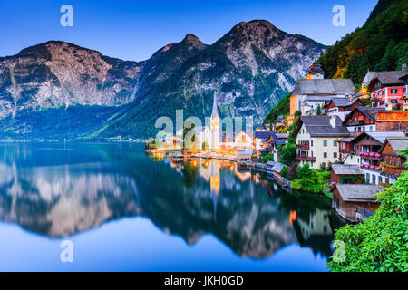Hallstatt, Austria. Mountain village in the Austrian Alps at twilight. - Stock Photo