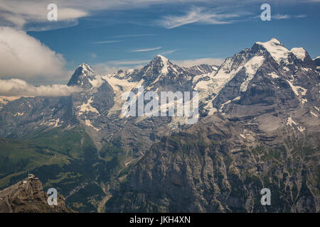 Jungfrau, Eiger and Mönch from Schilthorn - Stock Photo
