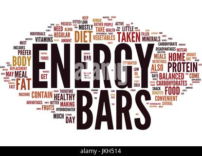 ENERGY BARS TAKEN AT HOME Text Background Word Cloud Concept - Stock Photo