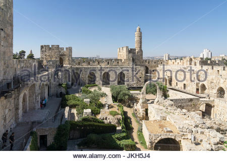 Inside the walls of the Jerusalem Citadel, or Tower of David, in the Old City, Jerusalem, Israel. - Stock Photo