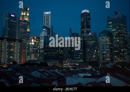 19.07.2017, Singapore, Republic of Singapore, Asia - A view of traditional shop houses in Singapore's Chinatown - Stock Photo