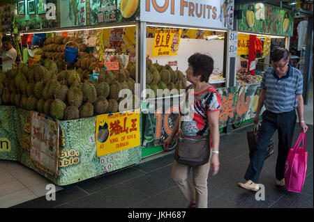 20.07.2017, Singapore, Republic of Singapore, Asia - A stall selling durians in the Chinatown Market. - Stock Photo