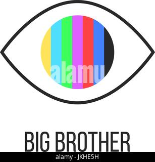 big brother is watching you from TV - Stock Photo