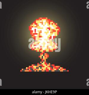 colored atomic explosion in pixel art with flash - Stock Photo