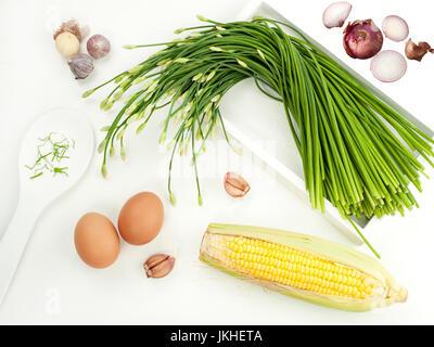 Garlic chives stir prepare with eggs garlic and mixers food menu Thai food and asian healthy food - Stock Photo