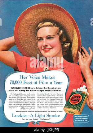 1937 U.S. advertisement for Lucky Strike cigarettes, featuring Hollywood actress Madeleine Carroll. - Stock Photo