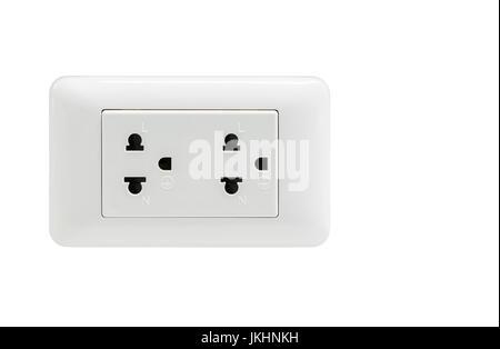 double plug socket isolated on white background - Stock Photo