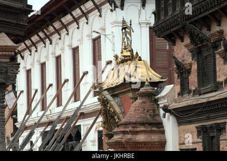 Newari and Rana architecture in Bhaktapur Nepal - Stock Photo