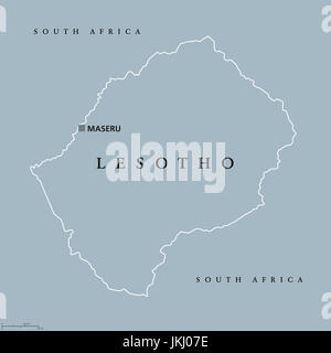 Lesotho Political Map with capital Maseru national borders Stock
