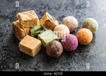 Various sweet candies. Truffles and caramel bonbons. - Stock Photo