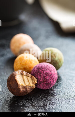 Various sweet candies. Truffles and caramel bonbons. - Stock Photo