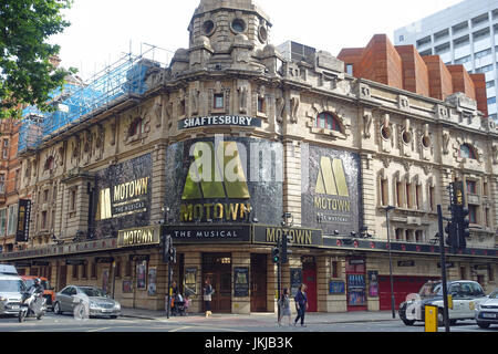 Front view of the Shaftesbury Theatre in Shaftesbury Avenue London UK - Stock Photo