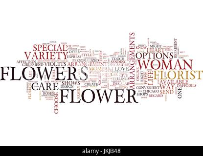 FLOWERS TOUCH THE HEART Text Background Word Cloud Concept - Stock Photo