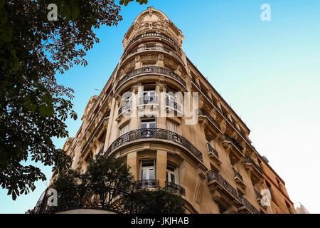 The facade of Parisian building, France. - Stock Photo