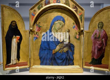 The Virgin and Child with Saints Dominic and Aurea - Duccio - Stock Photo