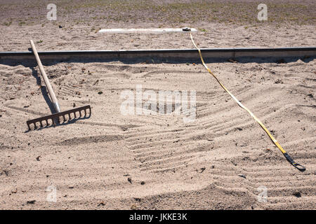 long jump box at sports ground - Stock Photo