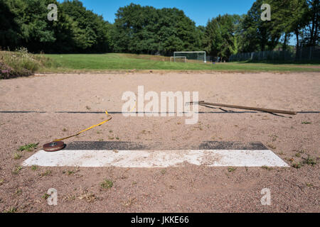 long jump box at sports ground - Stock Photo