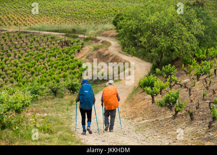 Pilgrim walk camino de Santiago near of the Villafranca del Bierzo. Spain, Europe. - Stock Photo