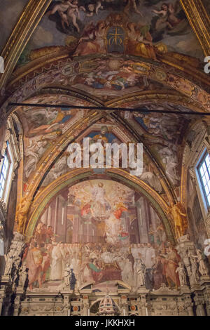Italy, Florence - December 24 2016: the view of the Frescoes in San Lorenzo Church inside Florence Charterhouse - Stock Photo
