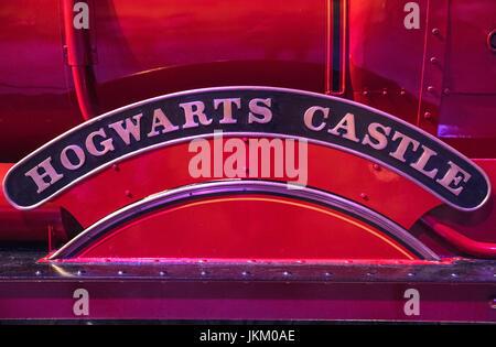 LEAVESDEN, UK - JUNE 19TH 2017: The destination sign on the Hogwarts Express train at the Making of Harry Potter Studio tour at the Warner Bros. Studi