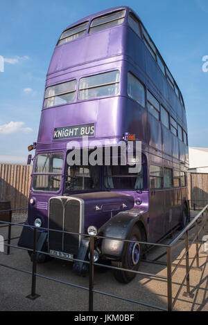 LEAVESDEN, UK - JUNE 19TH 2017: The Knight Bus at the Making of Harry Potter Studio tour at the Warner Bros. Studios - Stock Photo