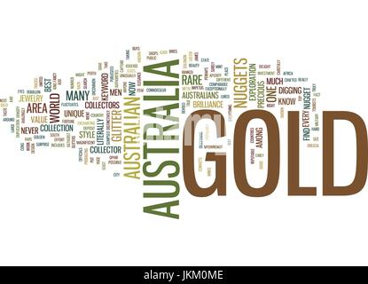 GOLD IN AUSTRALIA Text Background Word Cloud Concept - Stock Photo