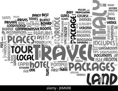 ITALY LAND TRAVEL PACKAGES Text Background Word Cloud Concept - Stock Photo