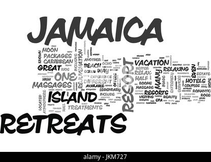 JAMAICA HOTELS AND RETREATS Text Background Word Cloud Concept - Stock Photo