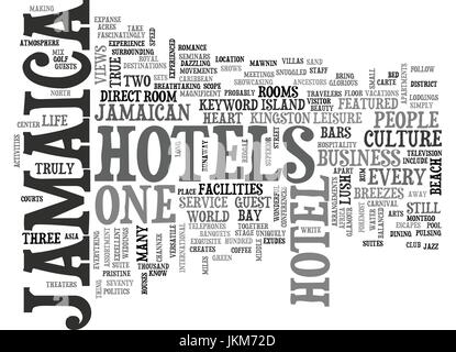 JAMAICA HOTELS Text Background Word Cloud Concept - Stock Photo