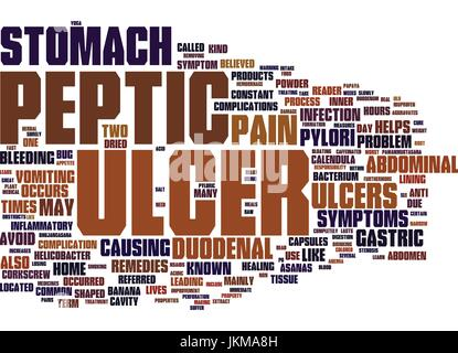 LEARN ABOUT PEPTIC ULCER Text Background Word Cloud Concept - Stock Photo