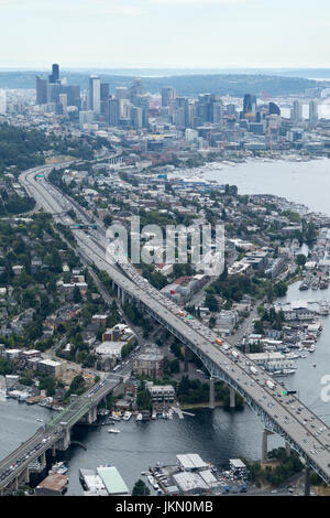 Aerial view of Eastlake Avenue crossed by I-5 Highway, Seattle, Washington State, USA - Stock Photo