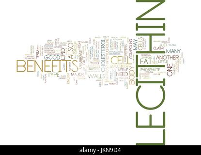 LECITHIN BENEFITS Text Background Word Cloud Concept - Stock Photo
