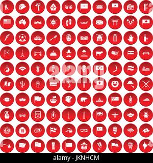 100 national flag icons set in red circle isolated on white vector illustration - Stock Photo