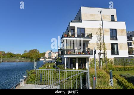 New buildings, Tegeler harbour, Tegeler island, Tegel, village Reinicken, Berlin, Germany, Neubauten, Tegeler Hafen, - Stock Photo