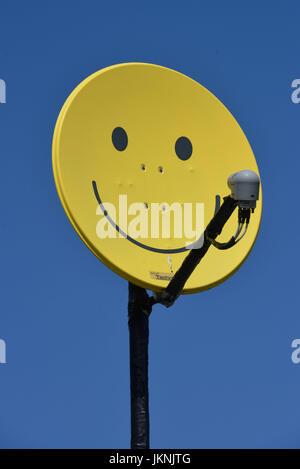 Satellite bowl, Berlin, Germany, Satellitenschuessel, Deutschland - Stock Photo