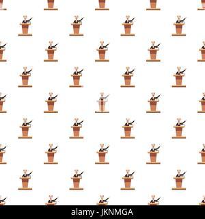 Speaker man pattern seamless repeat in cartoon style vector illustration - Stock Photo