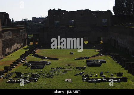 Italy. Rome. Imperial Palace. Stadium of Domitian on the Palatine Hill.  51-96 AD. - Stock Photo