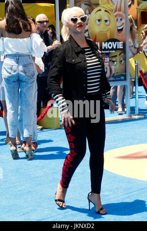 Christina Aguilera at arrivals for THE EMOJI MOVIE Premiere, Regency Village Theatre, Los Angeles, CA July 23, 2017. - Stock Photo
