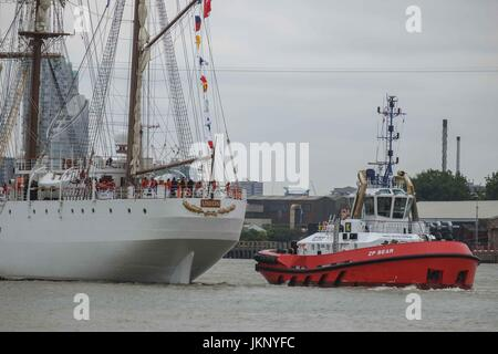 London, UK  24th July 2017. 115 metre long Peruvian Navy training ship, BAP Union, sails towards West India Dock,Canary - Stock Photo