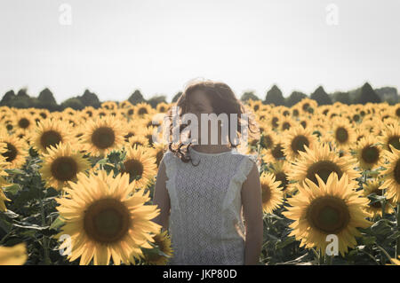 Young caucasian woman with long hairs among sunflowers field - Stock Photo