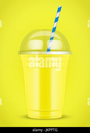 Plastic cup with smoothie and tube. - Stock Photo