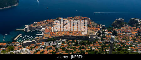 Aerial view looking down onto Dubrovnik old walled town, Croatia, Europe. - Stock Photo